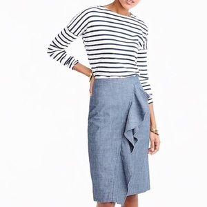 J. Crew Chambray Ruffle Pencil Skirt